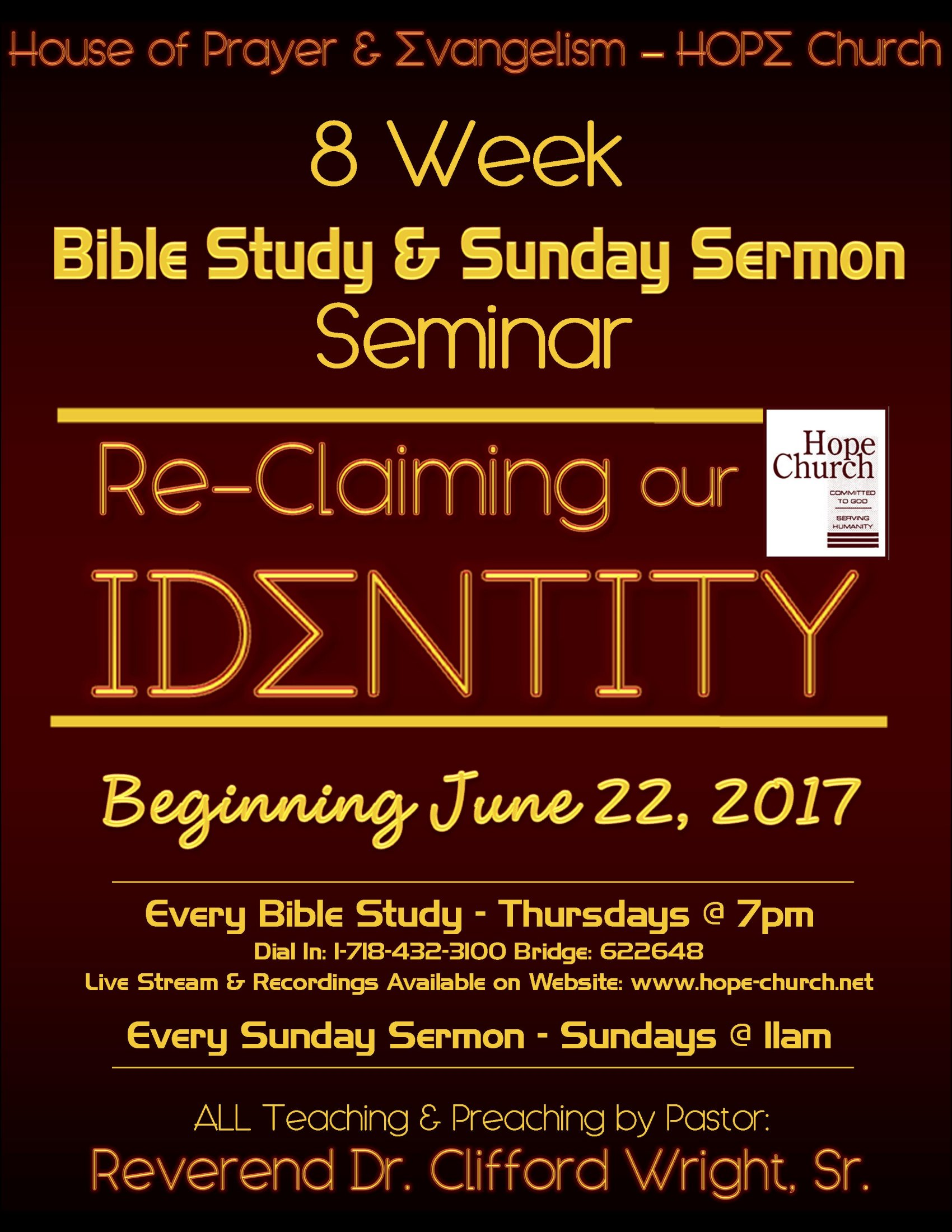 2017 - 8 Week Seminar - ReClaiming Our Identity - Flyer